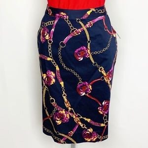 Macy's Navy Floral & Chain Print Pencil Skirt 12